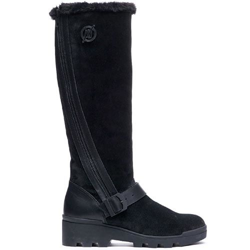 Замшевые высокие сапоги на меху Modus Vivendi черного цвета, фото