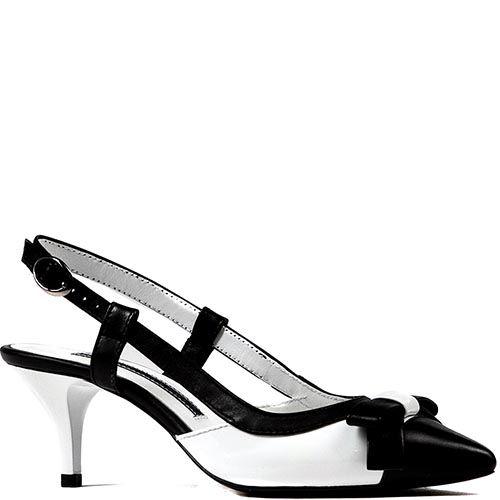 Черно-белые босоножки Modus Vivendi на среднем каблуке с зауженным носком, фото