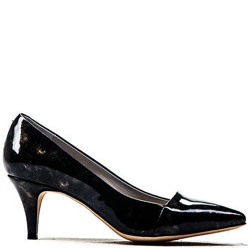 Туфли-лодочки Modus Vivendi из лаковой черной кожи на среднем каблуке, фото