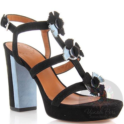 Замшевые босоножки Marc by Marc Jacobs черно-голубые на устойчивом каблуке, фото