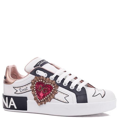 Белые кеды Dolce&Gabbana с нашивкой-сердцем, фото