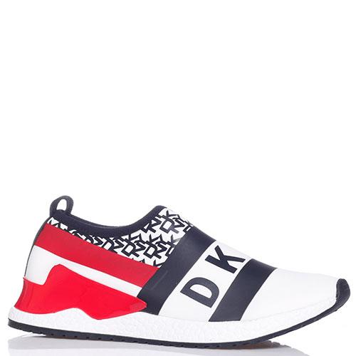 Белые кроссовки DKNY с красной вставкой, фото