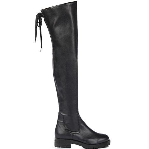 Черные ботфорты Tiffi со шнуровкой на голенище, фото