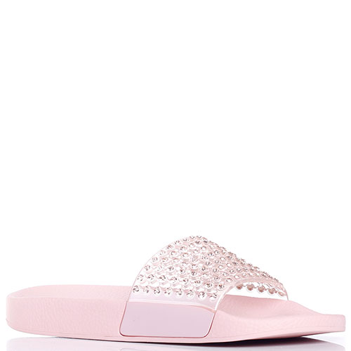 Шлепанцы с камнями Menghi розового цвета, фото