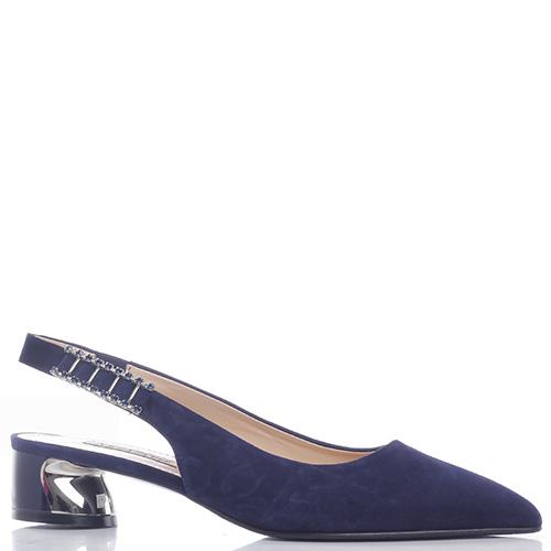 63550ffec ☆ Синие туфли-слингбеки Marino Fabiani с декором-камнями купить в ...