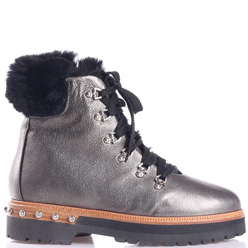 Серебристые ботинки Eddy Daniele со стразами на каблуке, фото