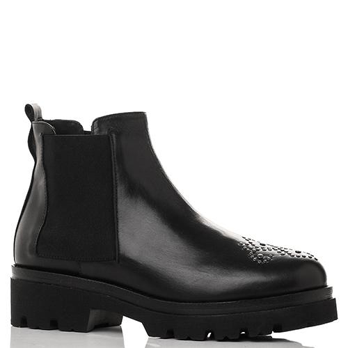 Черные ботинки-челси Mally с узором на носке, фото