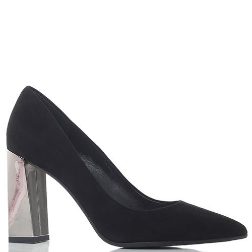 Черные туфли-лодочки Chantal на серебристом каблуке, фото