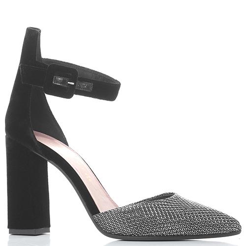 Серебристые туфли Chantal на высоком каблуке, фото