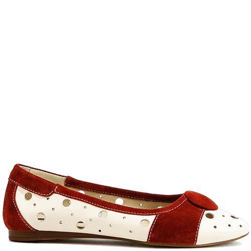 Туфли Modus Vivendi из белой кожи и красной замши, фото