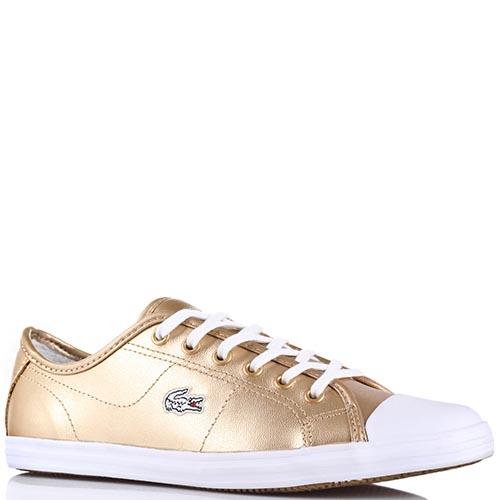 002772f4f516 Женские кожаные кеды Lacoste золотистого цвета с резиновым носочком, фото