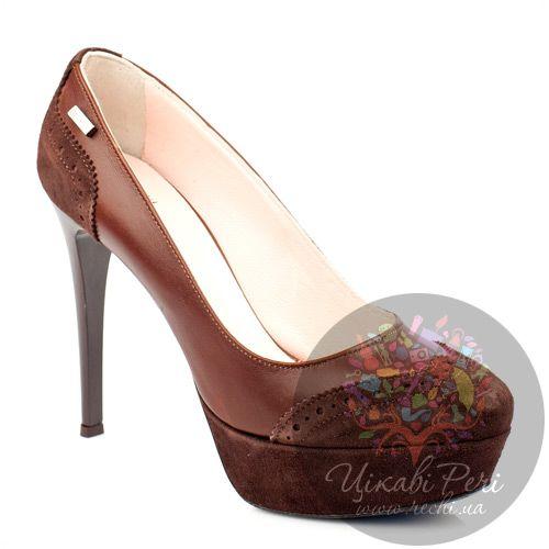 Туфли GF Ferre из комбинации коричневой кожи и замши с перфорацией, фото