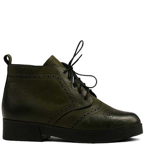Женские ботинки Modus Vivendi темно-оливкового цвета из натуральной кожи, фото