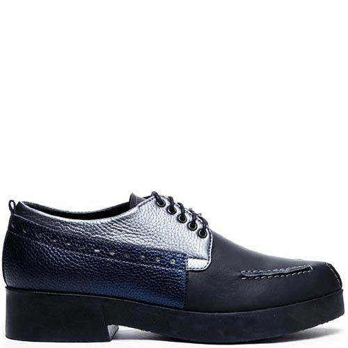 Туфли-броги из зернистой и гдадкой кожи синего цвета Modus Vivendi на шнуровке, фото
