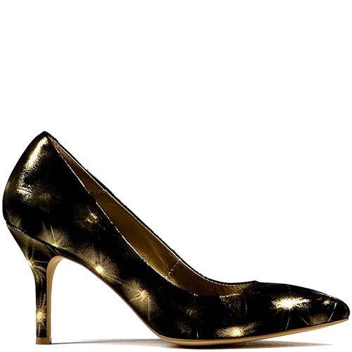 Черные туфли Modus Vivendi на среднем каблуке с золотистыми искрами, фото