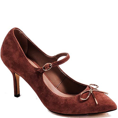 Замшевые туфли Modus Vivendi коричневого цвета на среднем каблуке с зауженным носком, фото