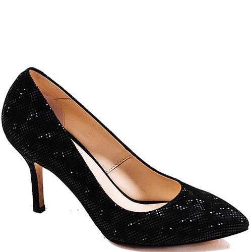 Туфли-лодочки Modus Vivendi из натуральной кожи черного цвета с золотистым рисунком, фото