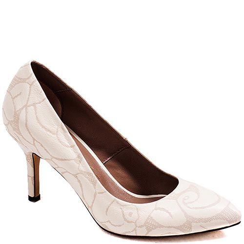 Туфли-лодочки Modus Vivendi из натуральной кожи молочного цвета с золотистым рисунком, фото