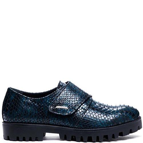 Кожаные туфли синего цвета на липучках Modus Vivendi с тиснением под питона, фото