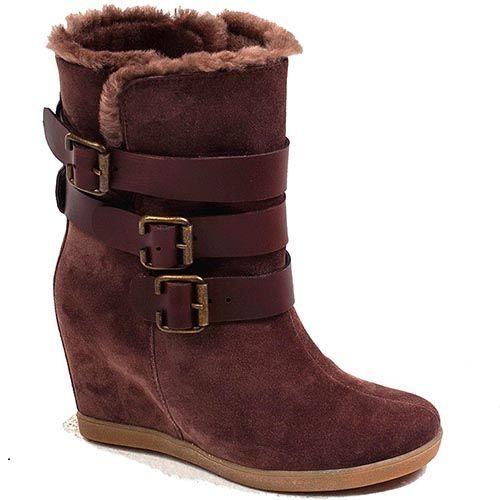 Замшевые женские ботинки Modus Vivendi коричневого цвета с тремя ремешками, фото