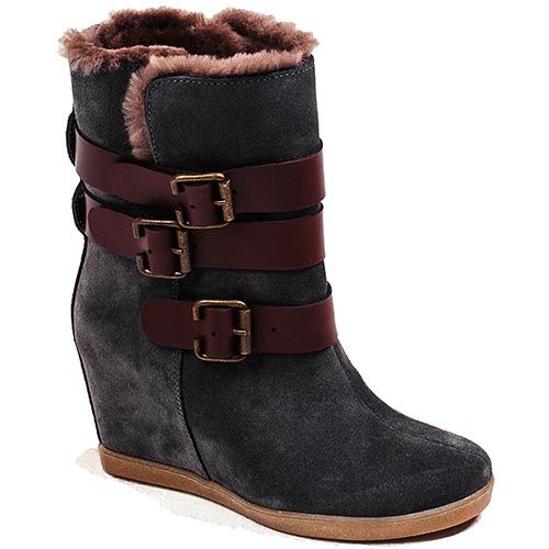 Замшевые ботинки Modus Vivendi серо-голубого цвета с коричневыми ремешками, фото