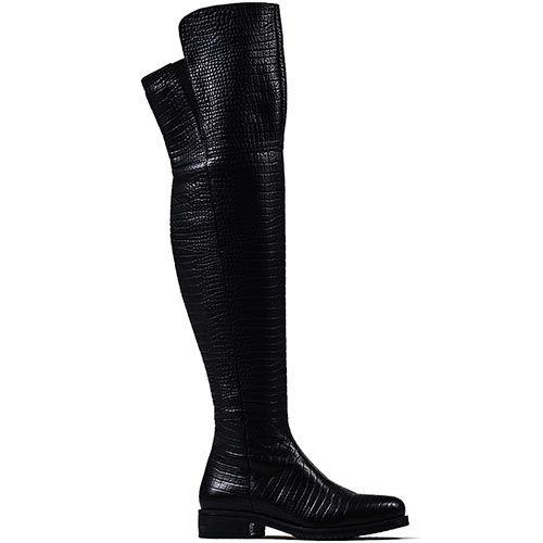 Женские ботфорты Modus Vivendi из кожи черного цвета, фото