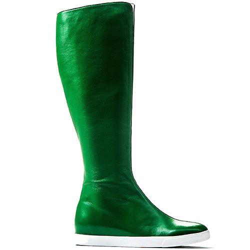 Высокие сапоги Modus Vivendi из гладкой кожи ярко-зеленого цвета, фото