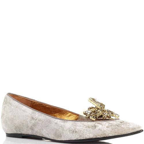Бархатные туфли Ras с силиконовой вставкой и золотистыми камнями, фото