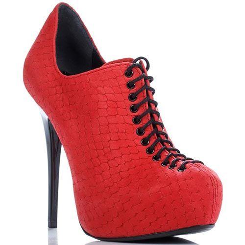 Кожаные закрытые туфли Modus Vivendi с тиснением на шнуровке, фото