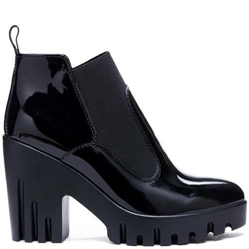 Черные ботинки из лаковой кожи Modus Vivendi на резинке, фото