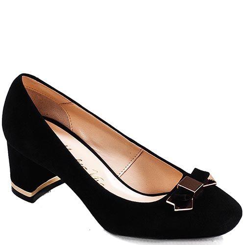 Туфли Modus Vivendi на устойчивом каблуке из замши черного цвета, фото