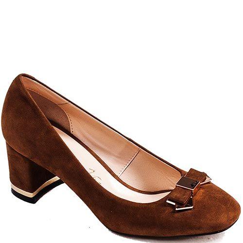 Туфли Modus Vivendi на среднем каблуке из замши коричневого цвета с бантиком, фото