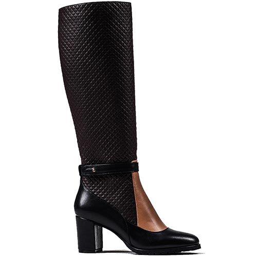 Изящные высокие сапоги Modus Vivendi из сочетания кожи черного, коричневого и бежевого цветов, фото