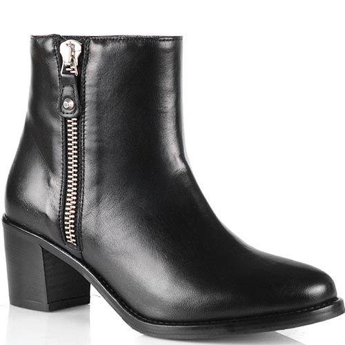 Черные кожаные ботинки Anna F на невысоком каблуке с округлым носком, фото