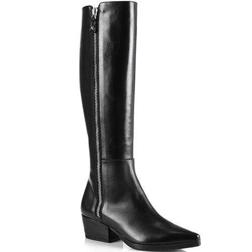 Высокие сапоги Anna F на низком широком каблуке с зауженным носком, фото