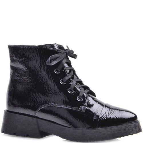Ботинки Prego из фактурной кожи лаковые с узким носком, фото