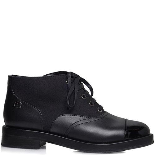Женские ботинки Prego из натуральной кожи черного цвета с лаковым носочком, фото