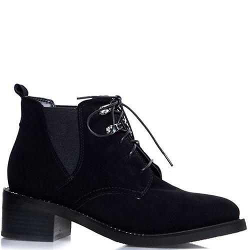 Ботинки Prego из натуральной замши черного цвета на шнуровке со вставками-резинками, фото