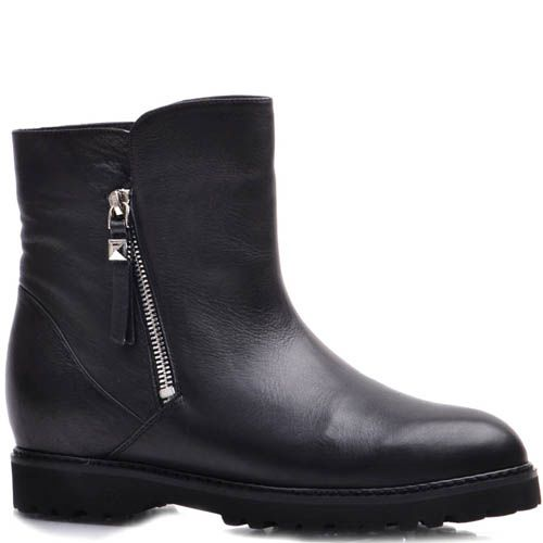 Ботинки Prego зимние из кожи на меху с двумя молниями, фото