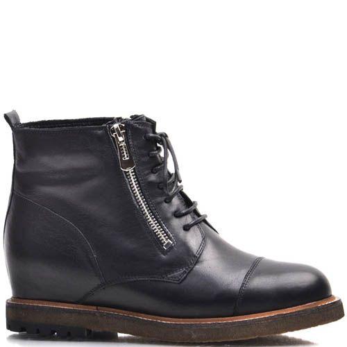 Ботинки Prego зимние с мехом черные со шнуровкой и молниями, фото