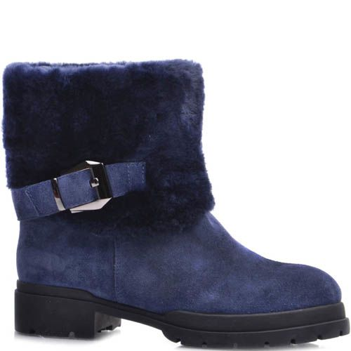 Ботинки Prego зимние синие с широким меховым отворотом и декоративной пряжкой, фото