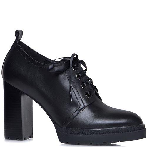 Ботильоны Prego из натуральной кожи черного цвета на шнуровке, фото