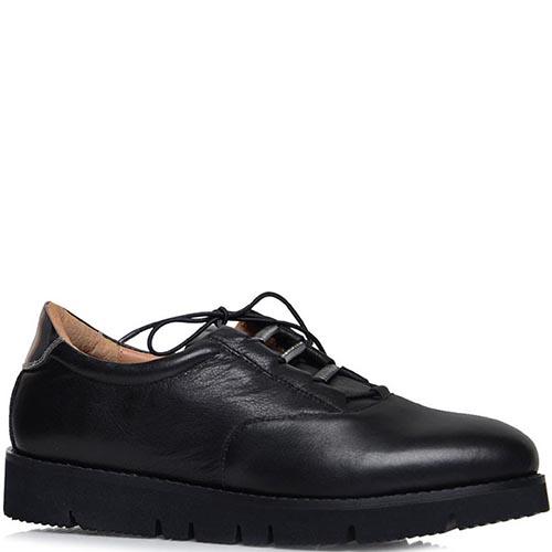 Туфли Prego из кожи черного цвета на толстой подошве, фото
