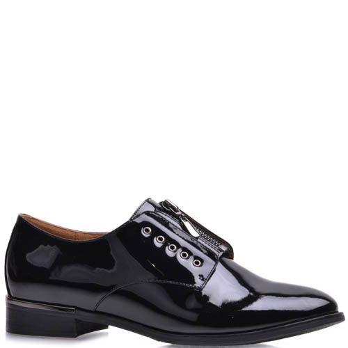 Туфли Prego женские лаковые черного цвета с молнией, фото