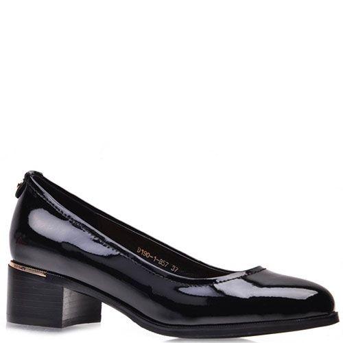 Туфли-лодочки Prego из натуральной лаковой кожи черного цвета, фото