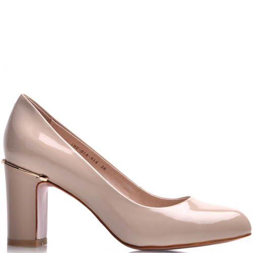 Туфли Prego лаковые бежевого цвета с круглым носком и металлической вставкой, фото