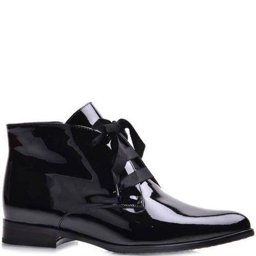 Ботинки Grado женские лаковые черного цвета с лентами, фото