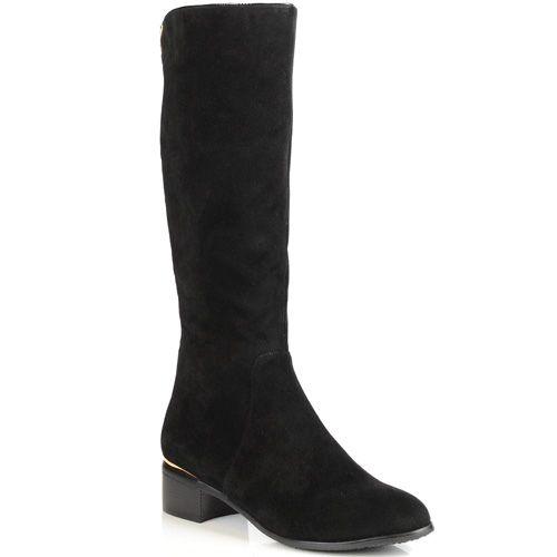 Зимние сапоги IT-Girl замшевые черные на устойчивом низком каблуке, фото