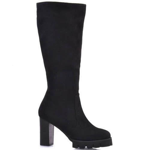 Сапоги Prego осение черного цвета замшевые на толстом каблуке высотой 9 см, фото