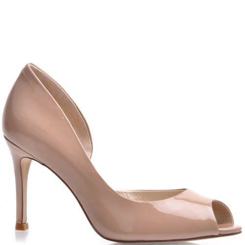 Туфли Prego с открытым пальчиком лаковые бежевого цвета на шпильке, фото